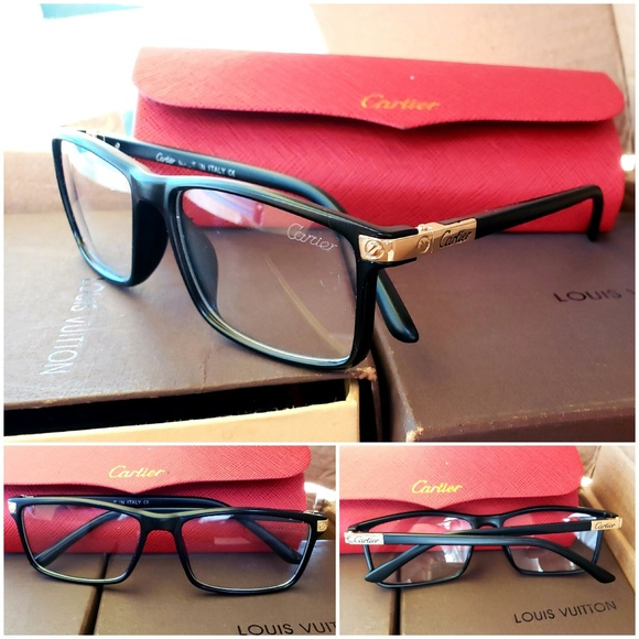 Black With Gold Trim Cartier Glasses Clear Lenses
